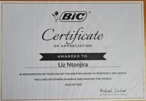 BIC Top Writers in Kenya - Lizz Ntonjira